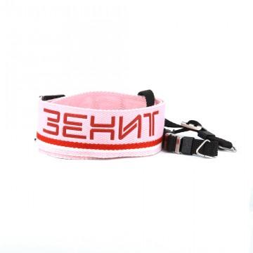 Ремень для фотоаппарата розовый с надписью Зенит