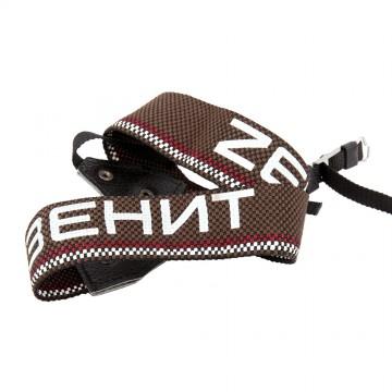 Ремень для фотоаппарата коричневый с надписью Зенит